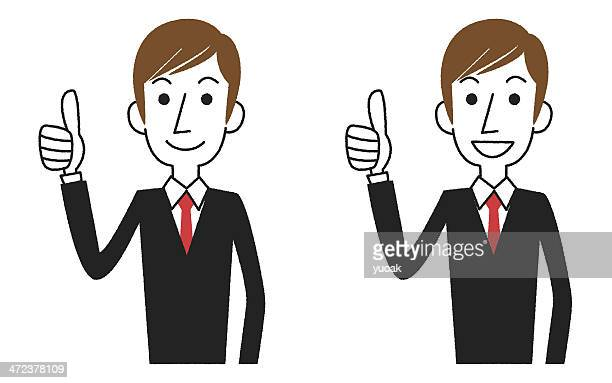 Businessman gesturing thumbs up