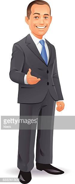 ビジネスマン身ぶり - ショートヘア点のイラスト素材/クリップアート素材/マンガ素材/アイコン素材