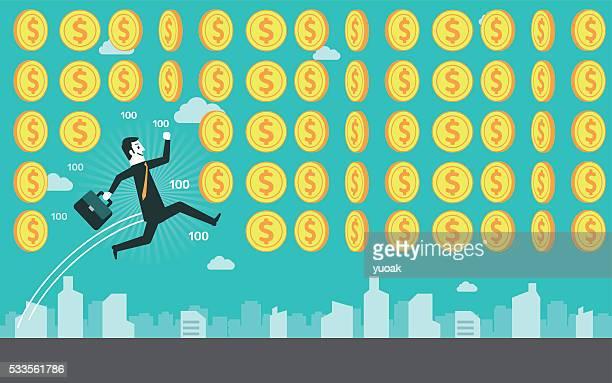 businessman get coins - incentive stock illustrations, clip art, cartoons, & icons
