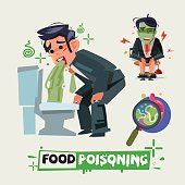 businessman get diarrhea in toilet. man in pain vomiting. food poisioning concept. Man having a stomachache. food poisoning. stomach problems - vector