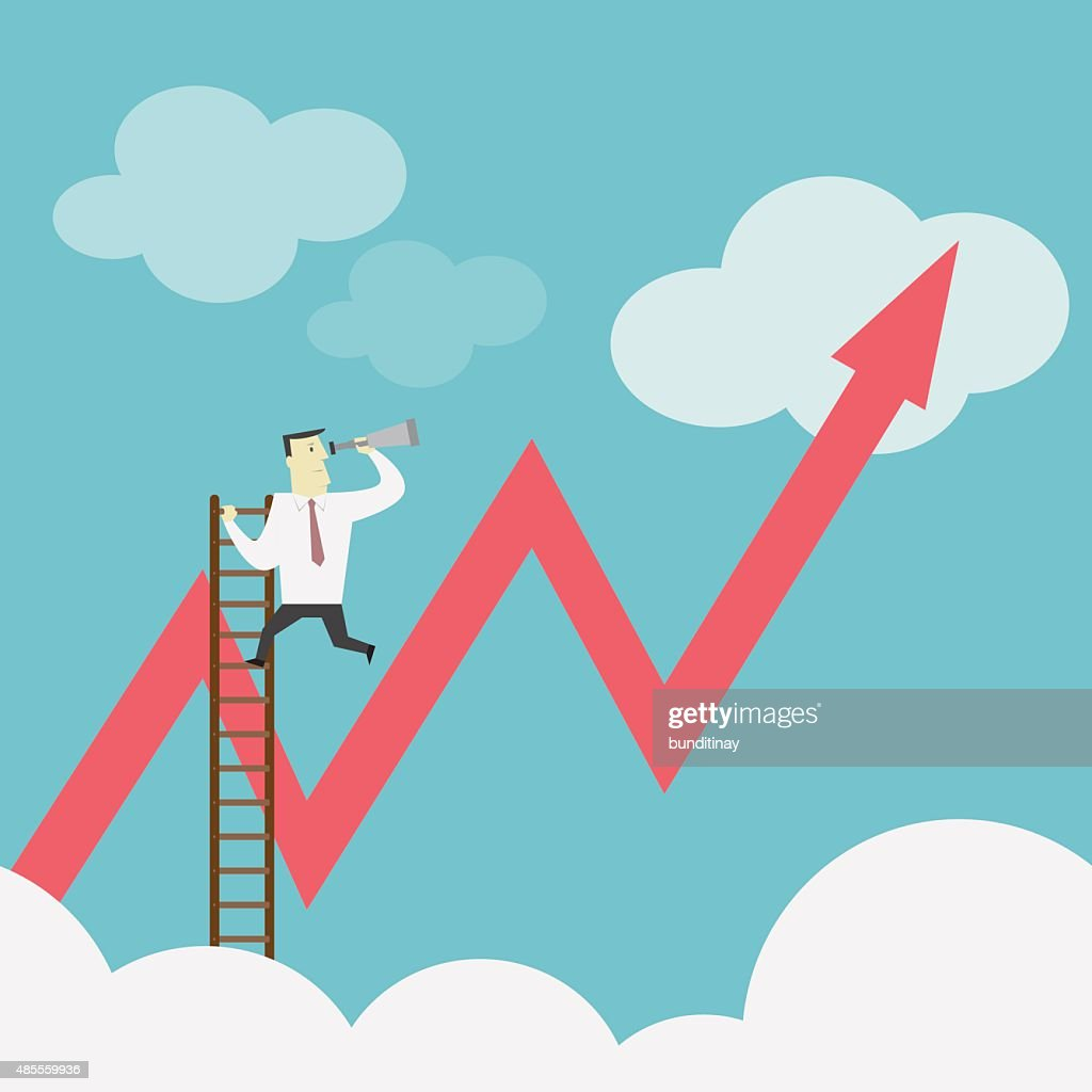 Businessman gets a better view on the Ladder - Vector