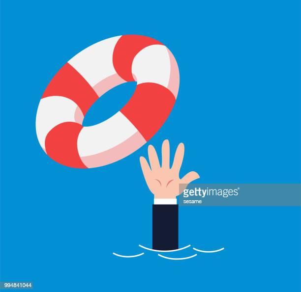 businessman gets a lifebuoy - lifeguard stock illustrations