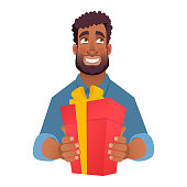 Businessman gives a gift. Gift vector illustration. African man holding red present box