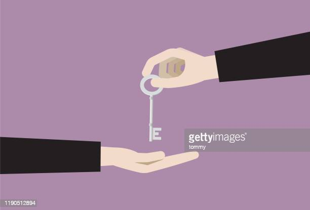 businessman giving a key of success - sharing economy stock illustrations