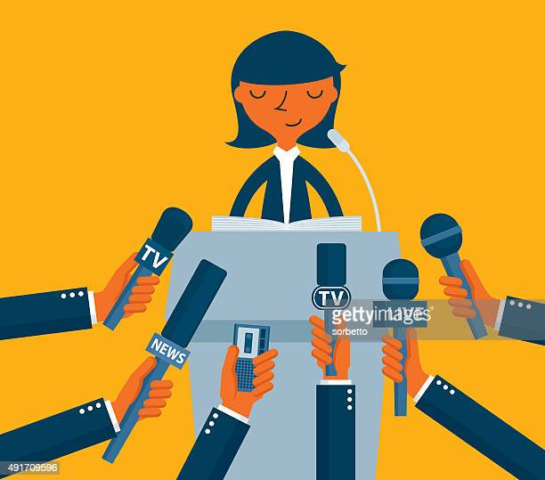 businessman giving an interview - press conference stock illustrations, clip art, cartoons, & icons