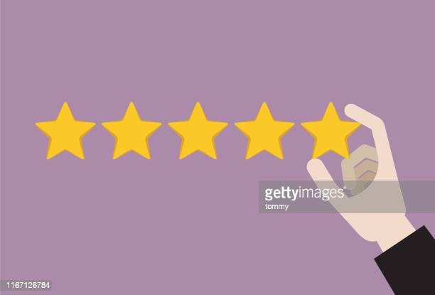 businessman giving five stars rating - adulation stock illustrations