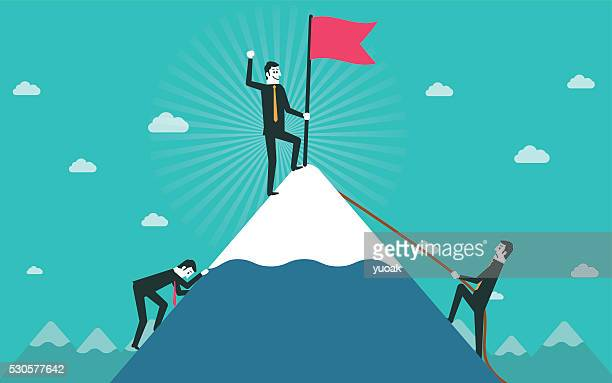 businessman go to the top of mountain - mountain peak stock illustrations, clip art, cartoons, & icons