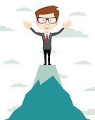 Businessman go to the top of mountain - Vector