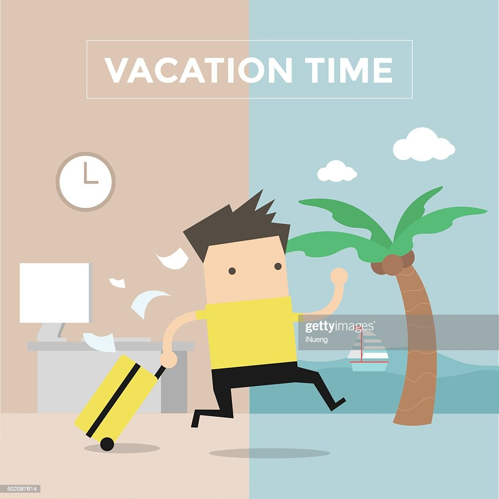 Businessman go to travel on vacation time