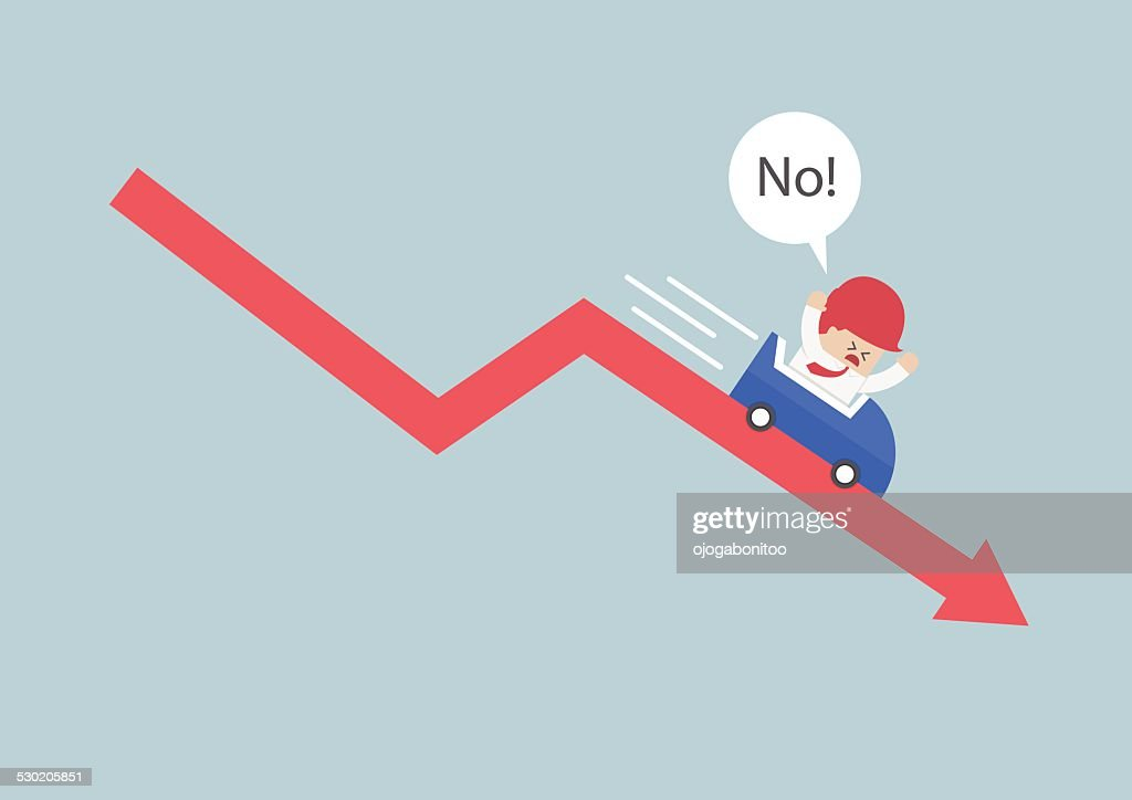 Businessman going down in a roller coaster