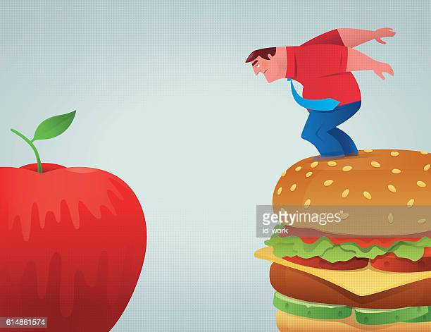 businessman going to jump - healthy eating stock illustrations, clip art, cartoons, & icons
