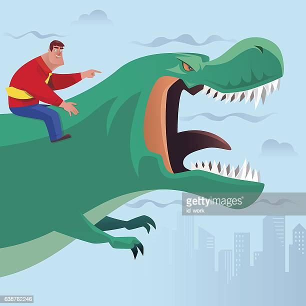 businessman guiding and riding dinosaur