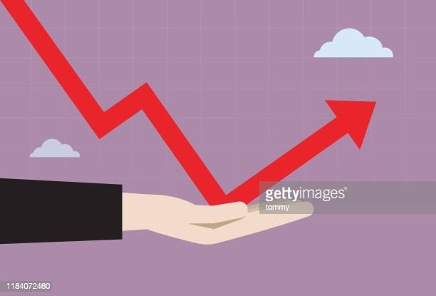 businessman hand helping graph to move up - turning stock illustrations
