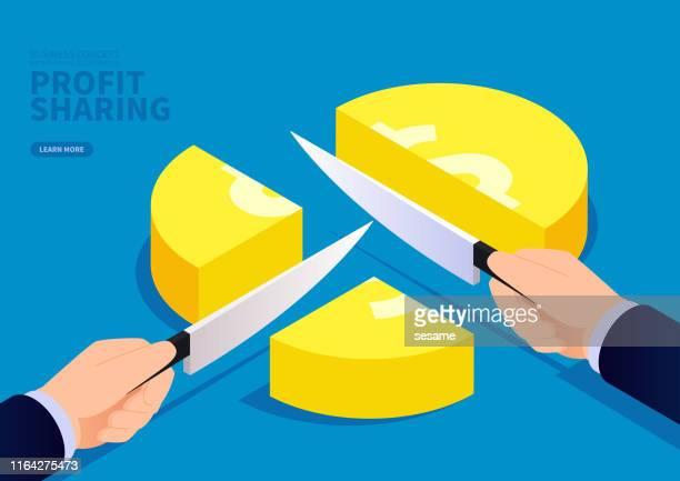 geschäftsmann hand hält ein messer, um goldmünzen in drei zu teilen - scheibe portion stock-grafiken, -clipart, -cartoons und -symbole