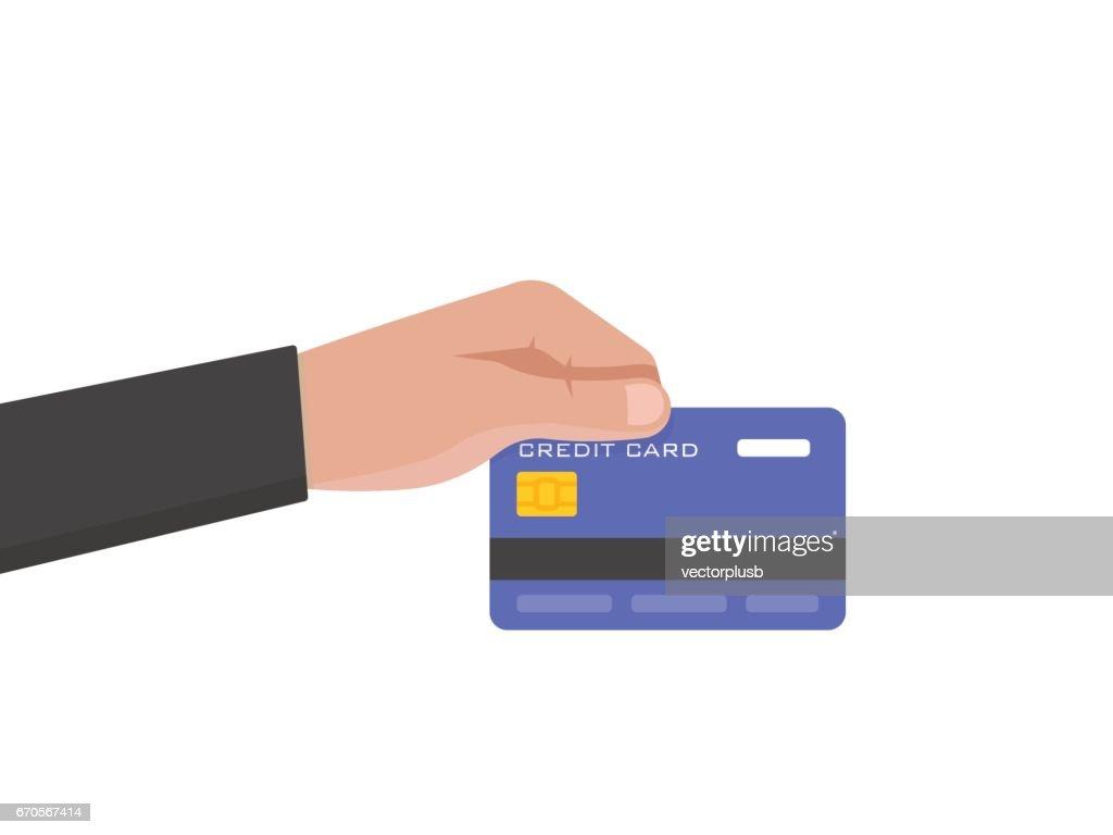 Businessman hand holds credit card vector illustration.