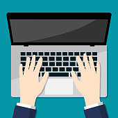 Businessman Hand on laptop-Flat Vector Illustration