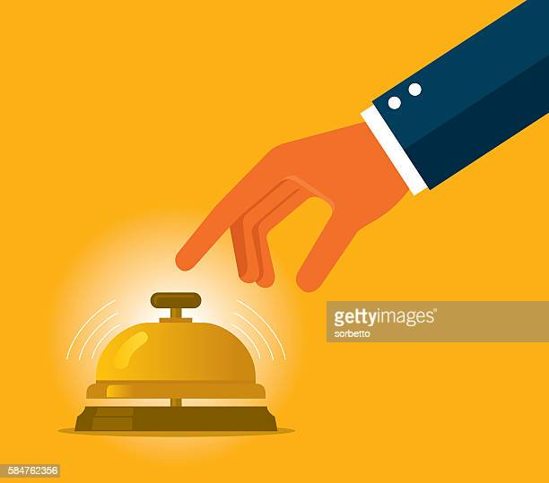 businessman hand ringing in service bell - ordering stock illustrations, clip art, cartoons, & icons