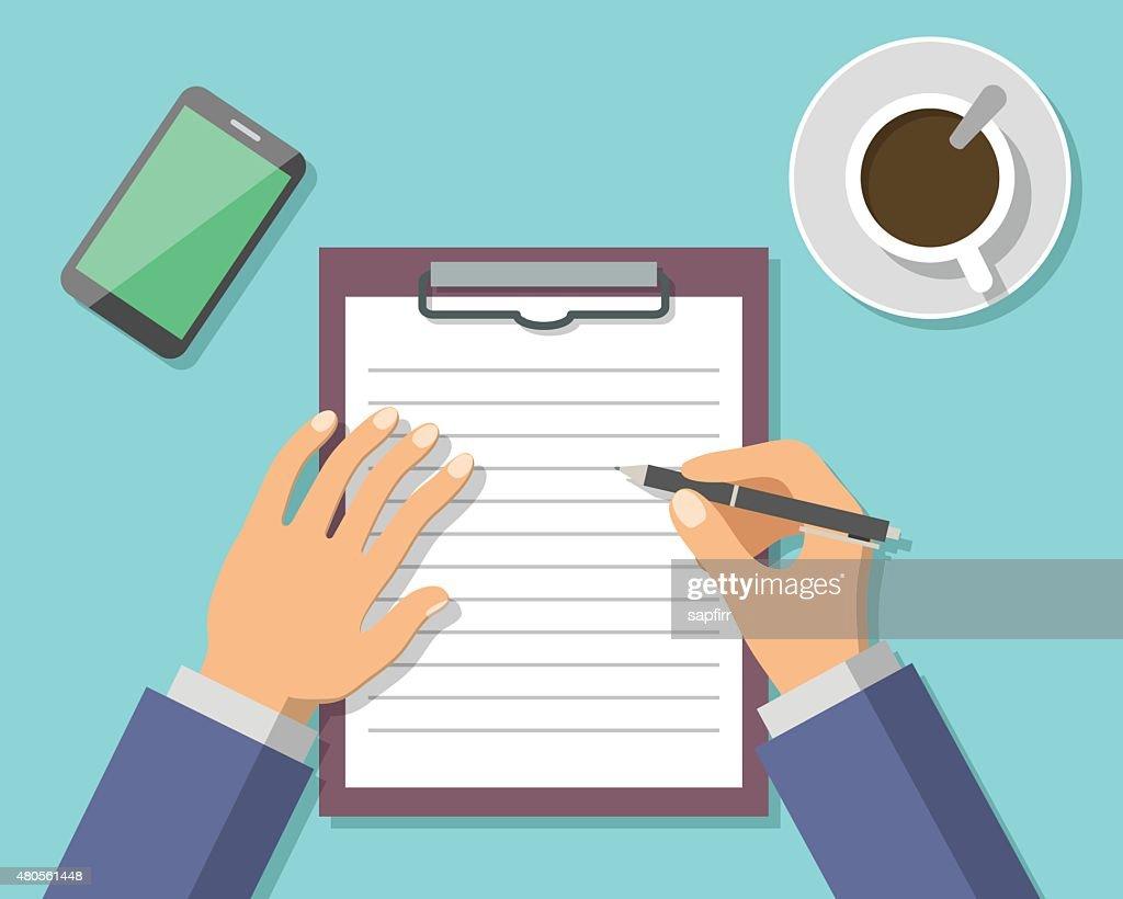 Businessman Hand Sign Business Document : Vector Art