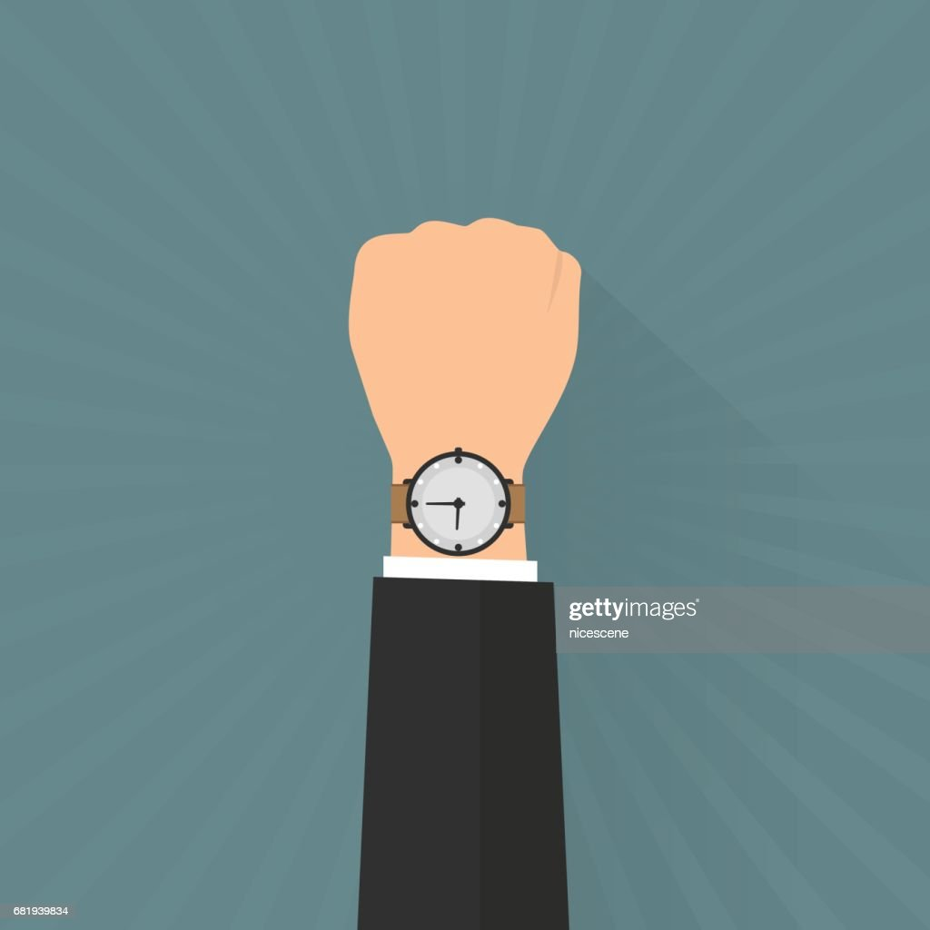 Businessman hand with wristwatch on sun ray background. Vector illustration flat design business concept.