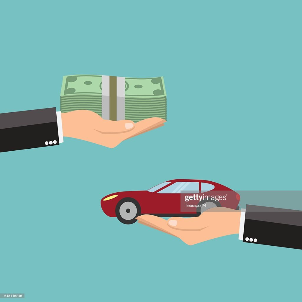 Businessman hands buying car - vector illustration