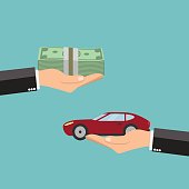 Businessman hands buying car - vector illustration