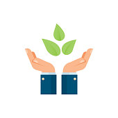 Businessman hands holding plants, environment symbol, agriculture and nature concept, vector illustration.