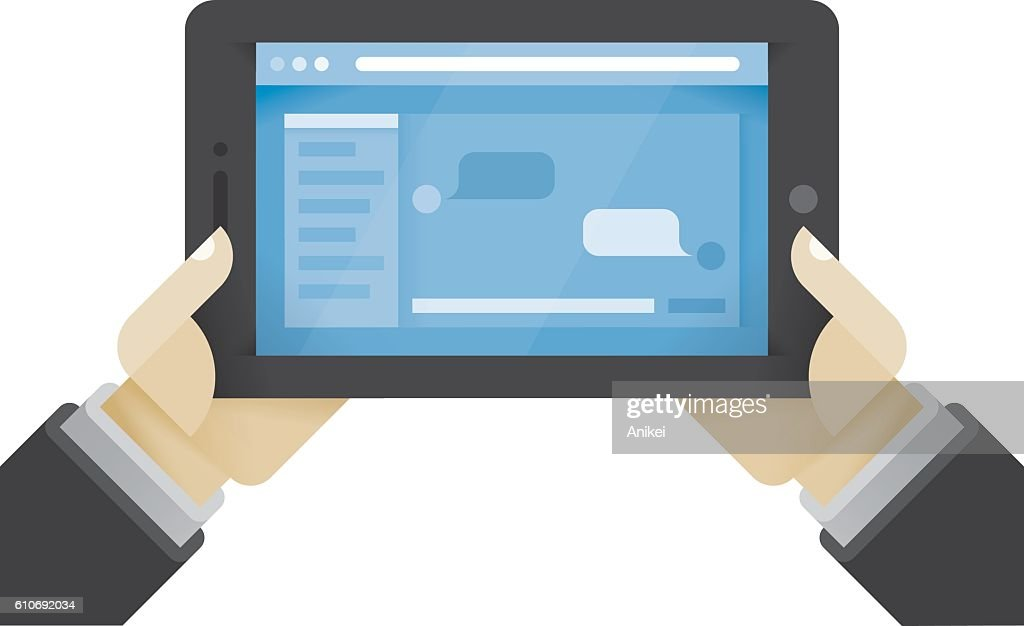 Businessman hands holding tablet computer with social network messages chat