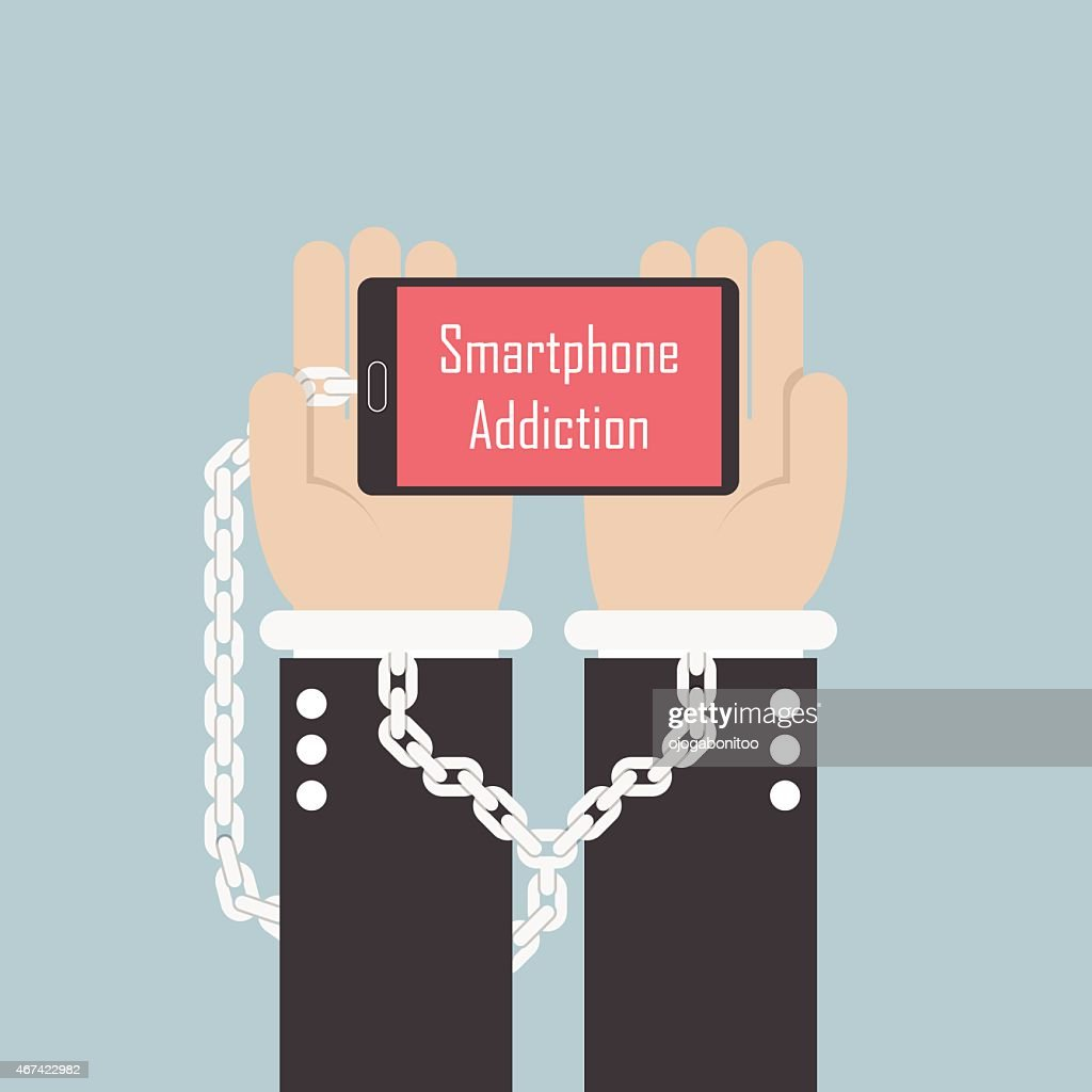 Businessman hands with smartphone and shackle, Smartphone addiction concept