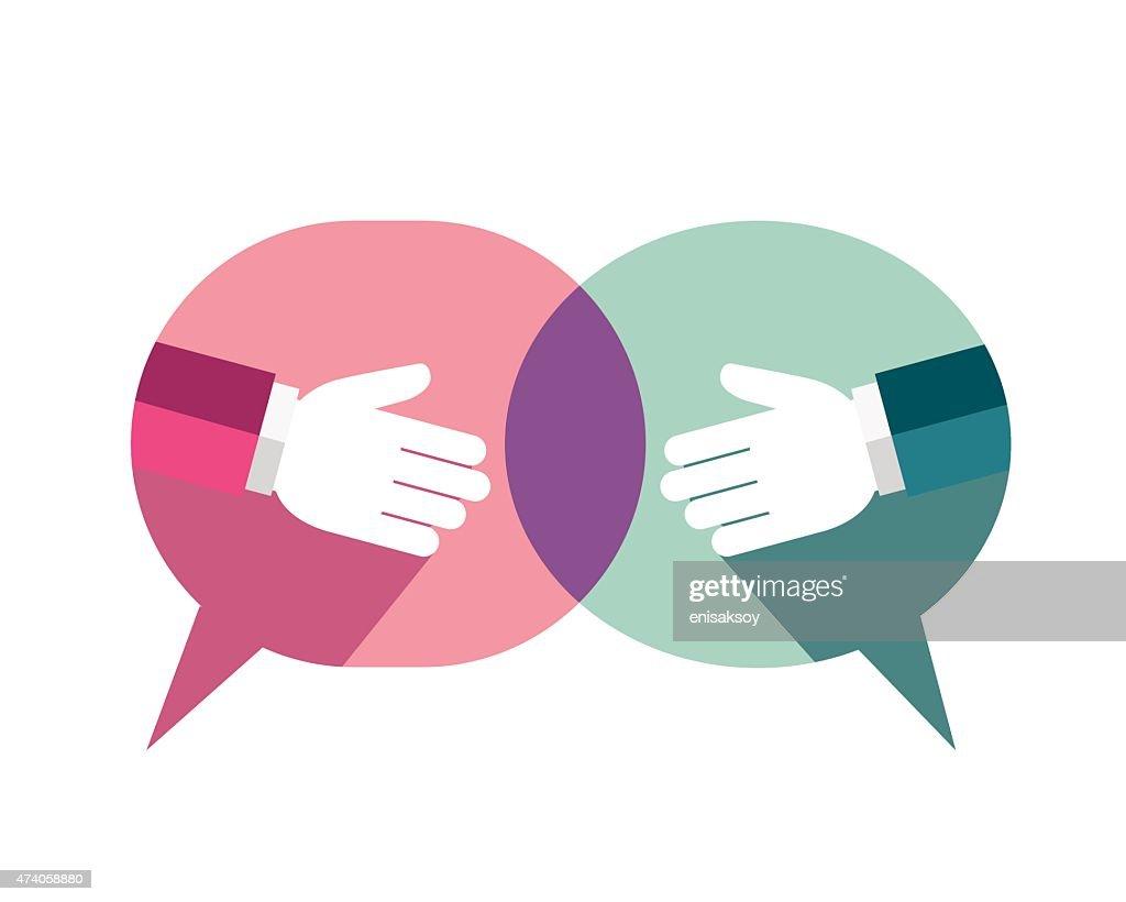 Businessman handshake background with speech bubble