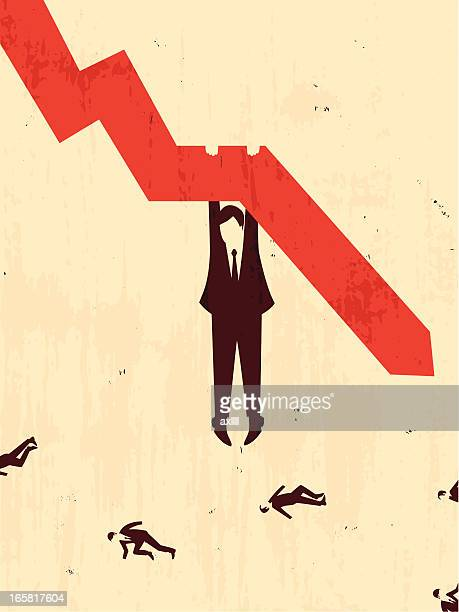 businessman hang on a graph
