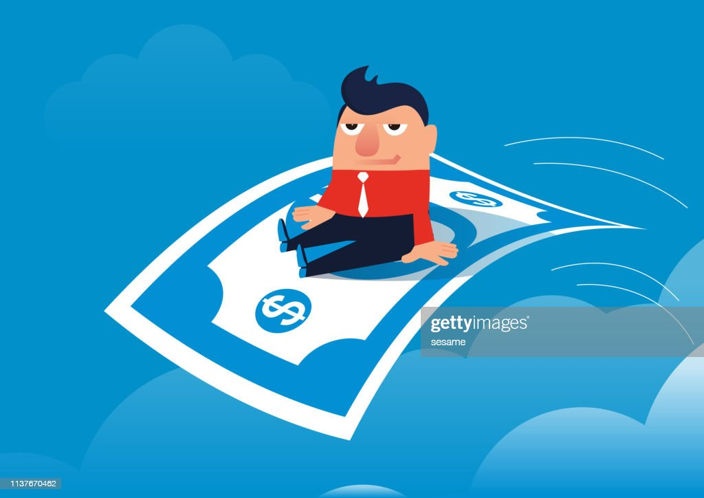 Businessman happy sitting on paper money flying in the sky : stock illustration