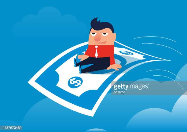 businessman happy sitting on paper money flying in the sky - cash flow stock illustrations, clip art, cartoons, & icons