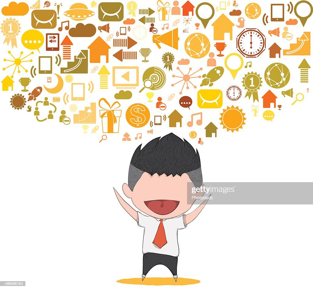 Businessman Happy Template Design Thinking Idea With Social High Res Vector Graphic Getty Images