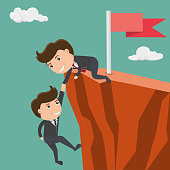 Businessman helping his friend pull up on the cliff. Vector illustration.