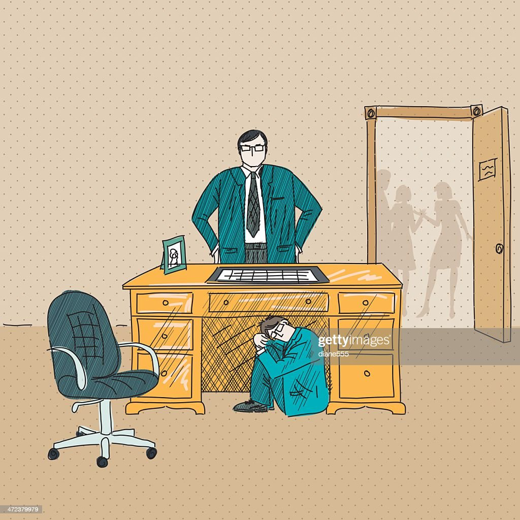 Businessman Hiding From His Angry Boss Under The Desk : stock illustration