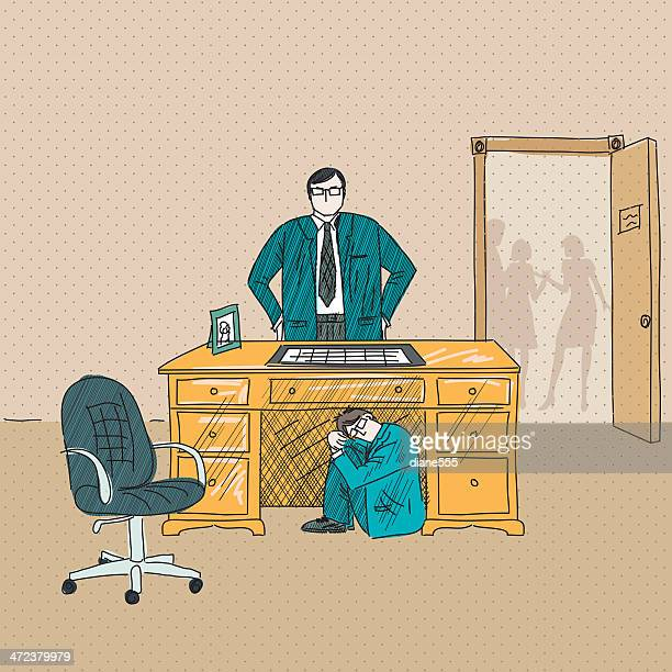 businessman hiding from his angry boss under the desk - foreman stock illustrations, clip art, cartoons, & icons
