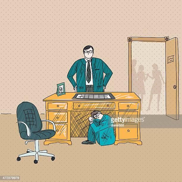 蔵怒っている実業家は彼のボス付きのデスク
