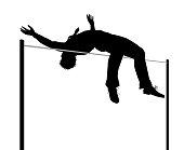 Businessman high jump silhouette