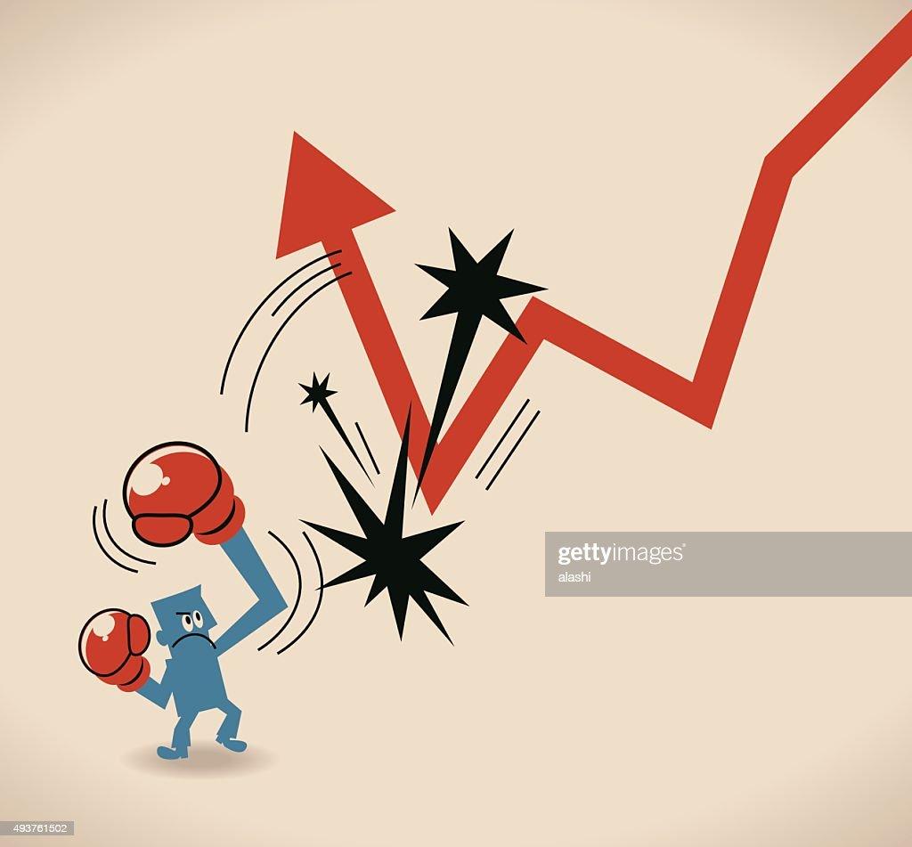 Businessman Hitting A Decline Arrow To Make Arrow Go Up