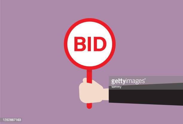 businessman hold a bid sign - bid stock illustrations