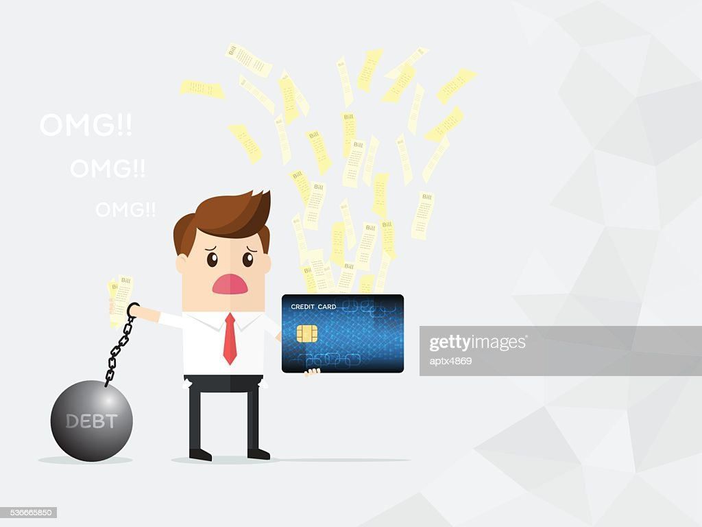businessman hold credit card and bills getting debt