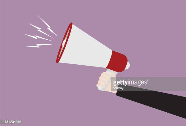 businessman hold megaphone - announcement message stock illustrations