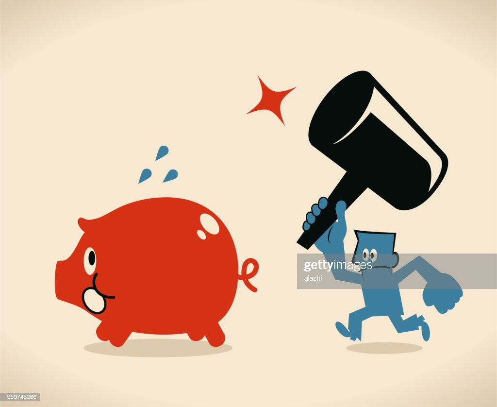 Businessman holding a big hammer and breaking the big piggy bank : Stock Illustration