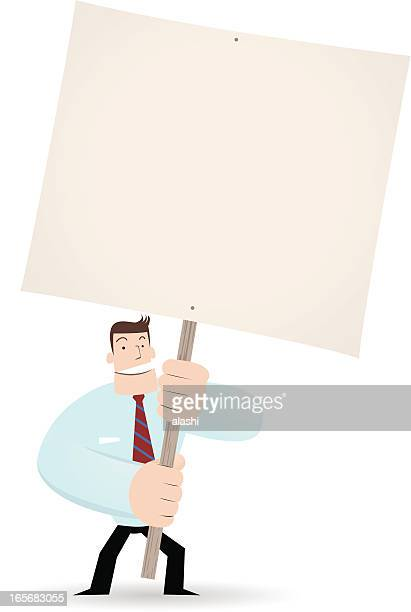 Businessman ( Teacher ) holding a blank sign for your message