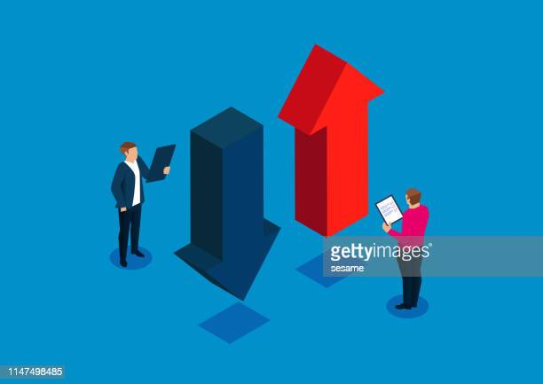 businessman holding a clipboard studying the upward and downward arrows - finance and economy stock illustrations