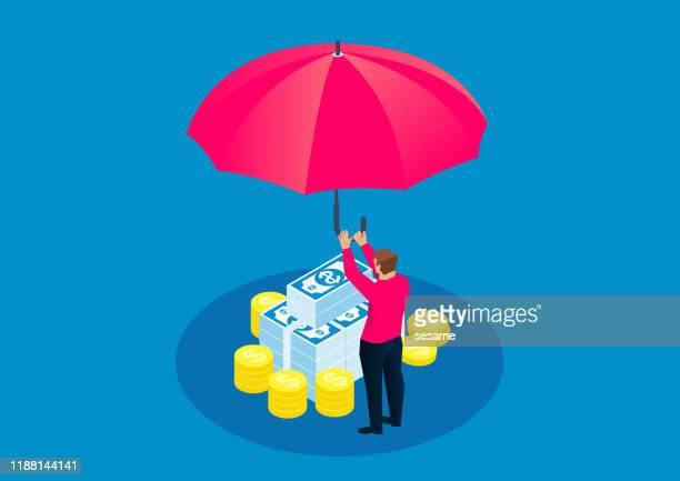 お金を守るために巨大な傘を持つビジネスマン - 守る点のイラスト素材/クリップアート素材/マンガ素材/アイコン素材
