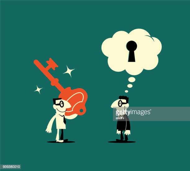 businessman holding a key unlocking another man (boss, consumer psychology) mind, thought bubble with keyhole, find out what other people think - unlocking stock illustrations