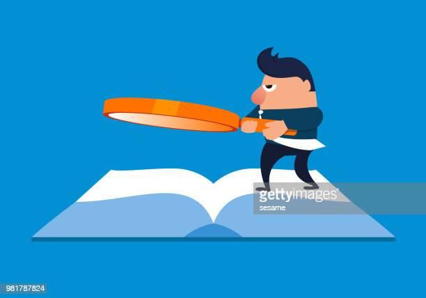 虫眼鏡立って本を保持している実業家 - 辞書点のイラスト素材/クリップアート素材/マンガ素材/アイコン素材