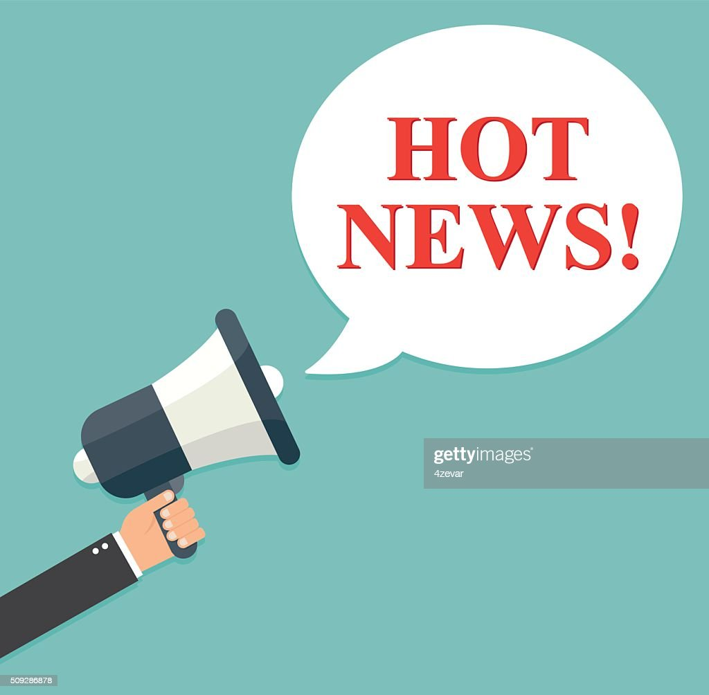 Businessman holding a megaphone - Hot News