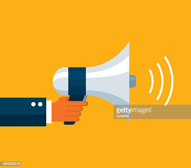 businessman holding a megaphone - announcement message stock illustrations